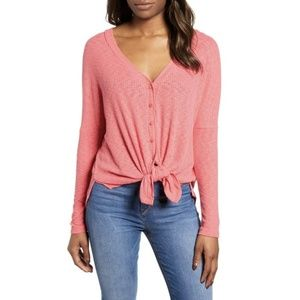 Caslon Button Front Ribbed Knit Top L